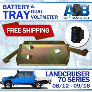 Battery Tray with Blue Volt Meter for Toyota LandCruiser 70 series