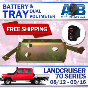 Battery Tray with Red Volt Meter for Toyota LandCruiser 70 series