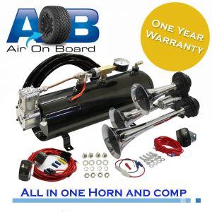 12 Volt 120psi Compressor, 3L Tank and 3 trumpets Horn Universal Full System