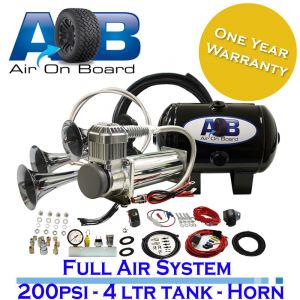 12 Volt 200psi compressor, 4 Litre tank and 3 trumpets Horn Universal Full System