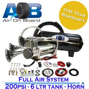 12 Volt 200psi compressor, 6 Litre tank and 3 trumpets Horn Universal Full System