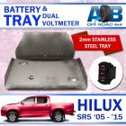 Battery Tray & Red Dual Volt Meter for Toyota Hilux SR SR5 PETROL 2005-2015 Stainless