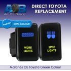 SPOT LIGHTS WORK LIGHTS 8002ABNG Toyota TWIN Push Switches dual LED blue light green ON-OFF