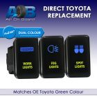 SPOT WORK FOG LIGHTS 8003ABNG Toyota TRIPLE Push Switches dual LED blue light green ON-OFF
